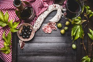 Italian food with red wine