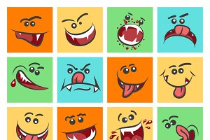 Colorful emoticon faces icons