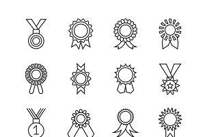 Rosette banner thin line icons