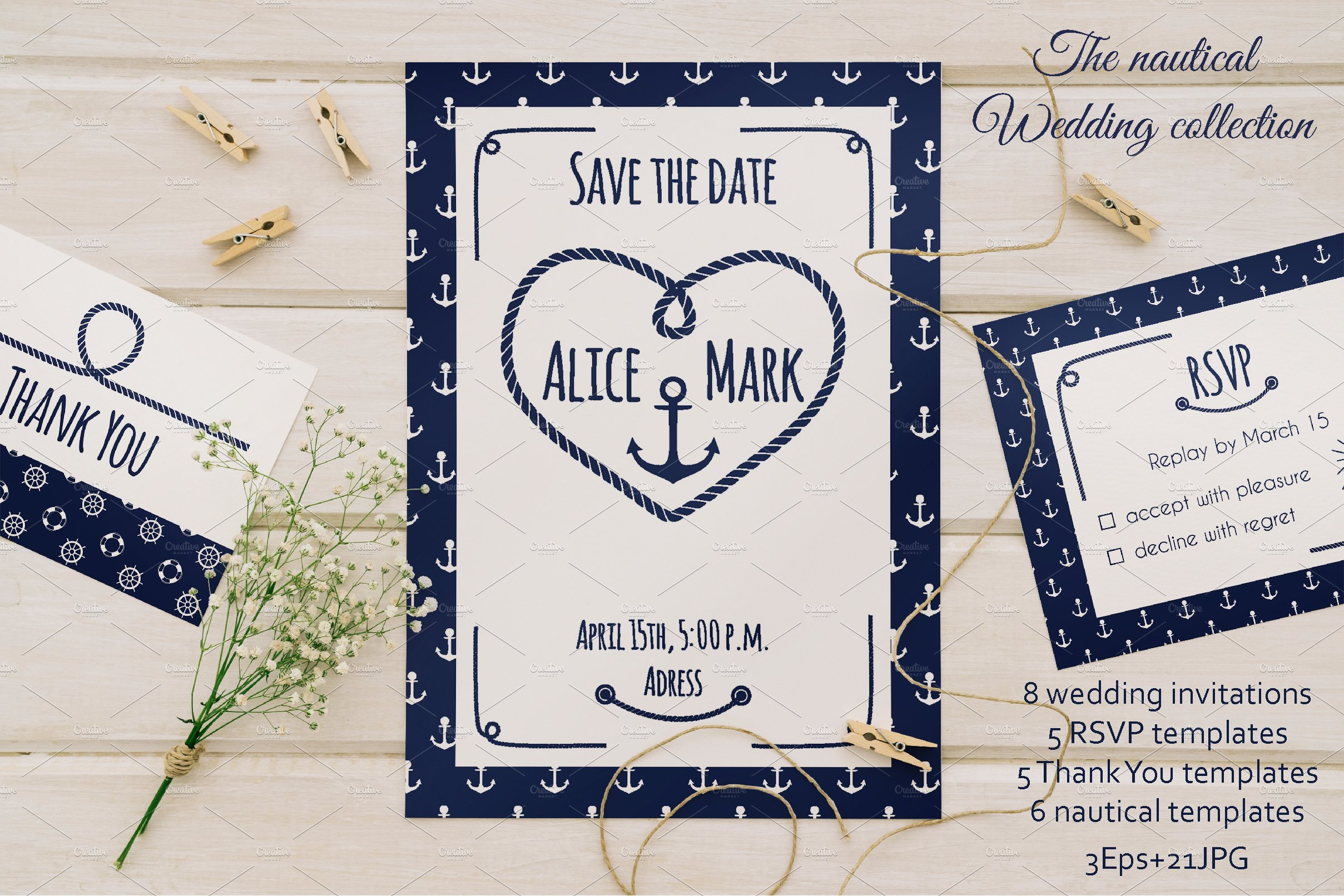 Nautical Wedding Collection ~ Invitation Templates ~ Creative Market