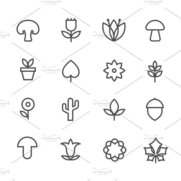 Linear Nature Icons
