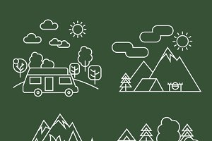 Forest activity linear icons