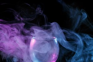 Smoke in the glass. Halloween.
