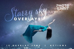 Night Sky Starry Overlays + Actions
