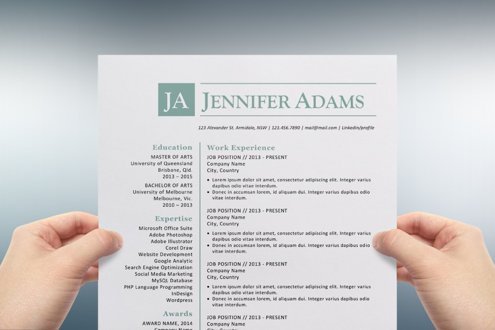 blue initials word resume template resume templates creative market - Template For Resume In Word