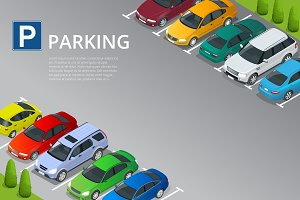 Isometric vector illustration Car in the parking lot . Flat illustration icon for web. Urban transport. Parking space. Accessibility