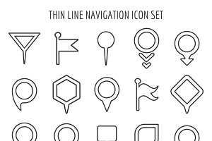 Linear map pin mini icons