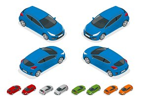 Isometric Sportcar or hatchback vehicle. SUV car set on white background, template for branding and advertising.