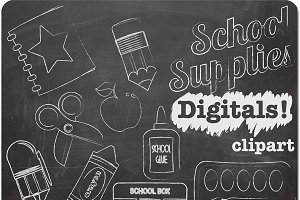 Chalk Clipart School Supplies