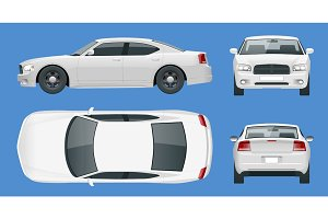 Business sedan vehicle. Car template vector isolated illustration View front, rear, side, top. Change the color in one click.