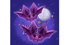 Cute Bats: Moonlight Scene