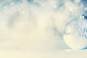 Blue Christmas banner with snow