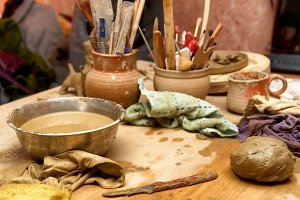 Handmade old clay pots