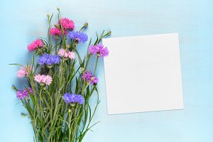 Blank paper card and cornflowers