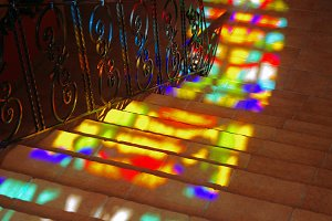 Spots of colored light on the stairs