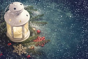Christmas background. Composition of a lantern and fir branches