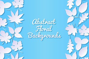 Floral backgrounds with paper leaves