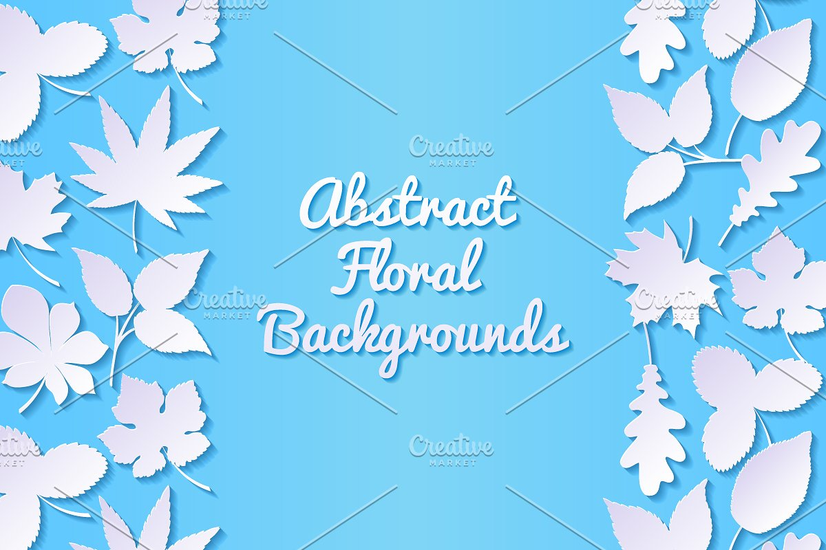 Floral Backgrounds With Paper Leaves Custom Designed