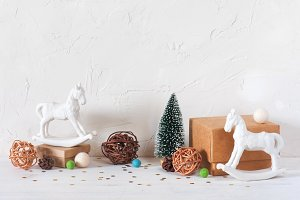 Light background with holiday decor