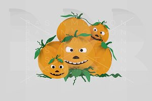 A crazy pumpkin heap