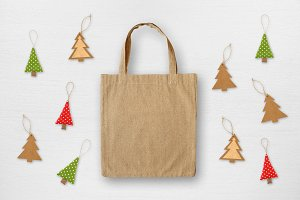 Canvas bag and Christmas decorations