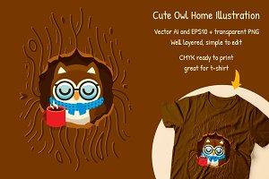 Cute Owl Home vector Clipart