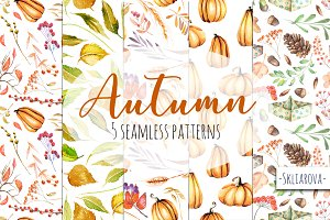 """Autumn"". Seamless patterns."