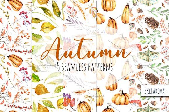 """""""Autumn"""". Seamless patterns."""