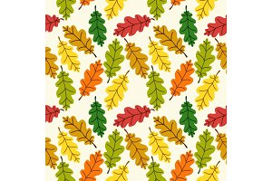 Cute autumn seamless pattern with rustic hand drawn nature elements as leaves in traditional autumn colors