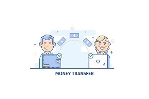 Payment Transfer. People sending and receiving money.Transfer money from wallet to the computer.Isolated vector illustration in light color