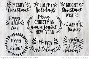 112 Christmas overlays, vector set