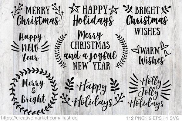 112 Christmas overlays, vector set