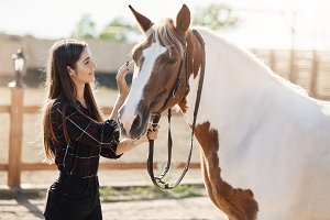 Young female stallion manager taking care about a horse on a farm on a sunny summer day.