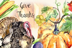 Give Thanks - Watercolor Clipart Set