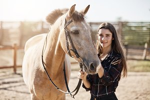 Young woman vet calming down a stallion to make injections.