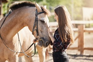 Young female horse farm manager caring and petting young stallion. Dream career taking care about animals.