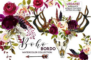 Boho Bordo Watercolor Flowers