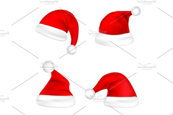 christmas santa claus hats set new year red hat isolated on white background vector illustration