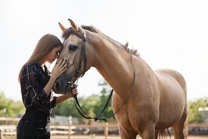 Portrait of young female assistant farm manager calming down a horse and talking to a new stallion.