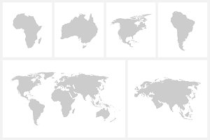 Vector world map + continents
