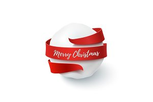 Merry Christmas, snow ball with red bow and ribbon around.