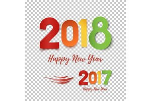 Happy New Year 2017- 2018 template for poster, brochure, greeting card.