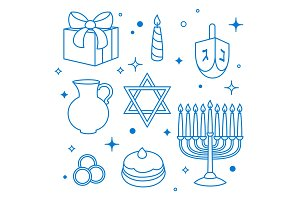 Set of Happy Hanukkah celebration objects and icons