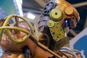 robot metal, head shoulders and eyes
