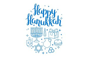 Happy Hanukkah celebration card with holiday objects