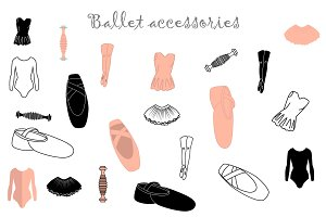 Ballet accessories set in vector