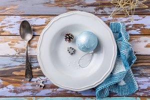 White empty plate with christmas decorations