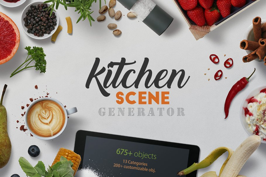 Kitchen equipment scene generator ~ Scene Creator Mockups ~ Creative