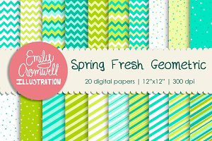 Spring Geometric Digital Papers
