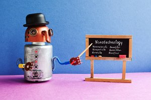 Robot professor explains Nanotechnology. Funny black hat cyborg character, classroom interior with black chalkboard handwritten topics about nanomaterials. Blue pink colorful background.